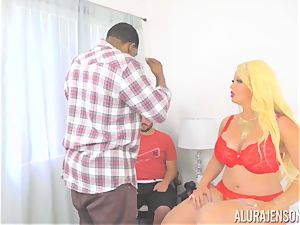 cougar Alura Jenson makes her daughters boyfriend watch as she gets poked