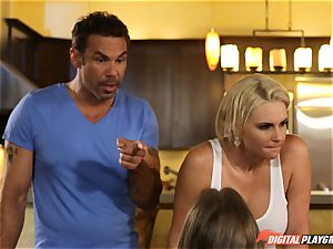 Family romp lessons with stepmom and stepfather - Phoenix Marie and Alexis Adams