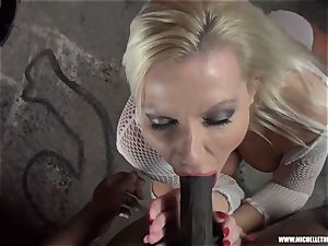 messy platinum-blonde stunner sucks knocker strokes pulverizes humungous dark-hued chisel