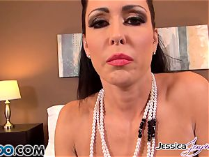 witness Jessica Jaymes throating a moster manhood, immense orbs