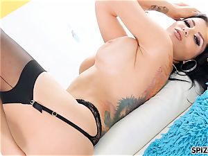 Romi Rain take a giant stiffy all the way down her mouth
