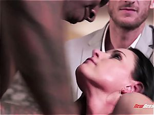 torrid wife India Summer climaxing on a dark-hued jizz-shotgun