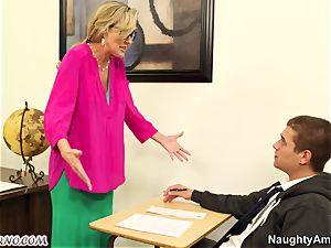youthful dude plumb his big-chested adult educator during a lesson