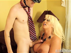 Mormon meets Alura Jenson and shoots a load twice for her
