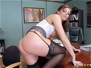 ginger-haired manager Britney Amber bangs a wild employee