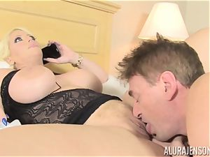 biz gal Alura Jenson makes her worker lick out his own jizm out of her beaver