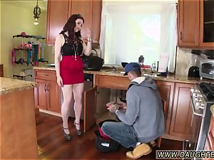 crony s daughter-in-law sits on daddy at table first-ever time The Plumber gets His jizz-shotgun Cleaned