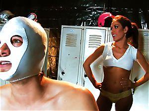 chesty brown-haired Capri screws an aspiring luchador
