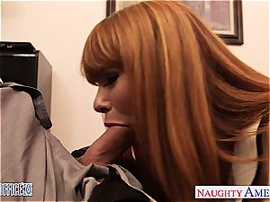 smallish jugged Claire Robbins tear up in the office