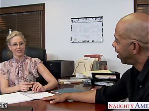 blonde teacher Julia Ann tearing up a big black cock