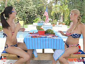 Alexis Fawx and Alexis Deen labia slurping duo after exploding a watermelon