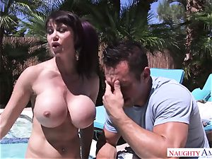 handsome mommy with mega hooters wants to get her ass poking by her stepson