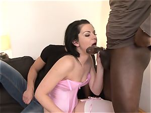 hubby Shares pinkish undergarments wife with ebony dude