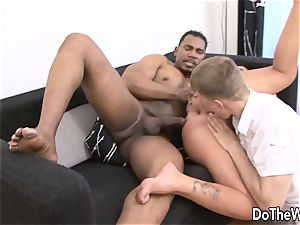 dark-haired wifey Tiffany takes gigantic dark-hued manmeat in her bum