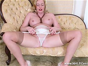 ash-blonde cougar disrobes off retro lingerie humps jiggly cooter
