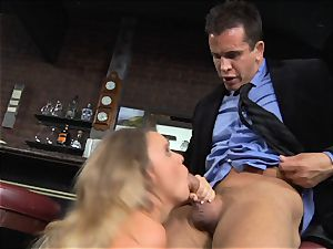 Alexis Adams drills the manager in the bar