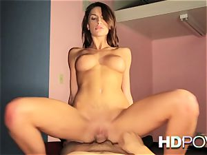HD point of view warm brown-haired with large hooters loves to juggle bone