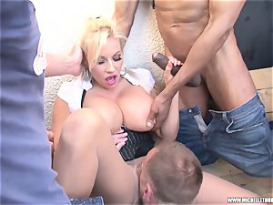 admirers smoking group fumble jerk with Michelle Thorne