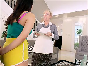 Valentina Nappi bashed in her minge with her granny sleeping in the room