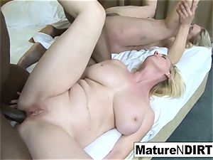 two blond grannies have an multiracial foursome
