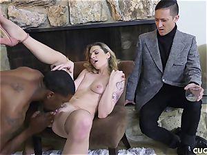 dark-hued guy plows his boss sex-positive wifey Dahlia Sky