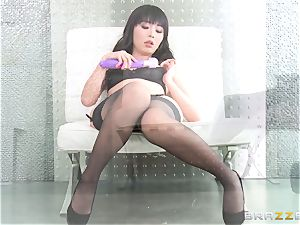 asian cutie Marica Hase pulverized in sexy ebony lingerie