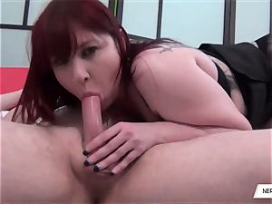 Donna Austin Gives super-cute deep-throat blow-job