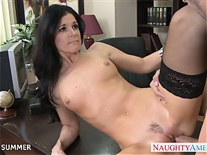 Stockinged India Summer romping on the desk