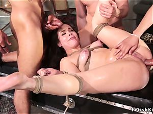 rectal group sex dark-haired in cable bondage