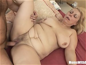 Saggy jugged blondie Mature Stepmom buttfuck smashed