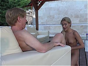 Lusty succulent snatch for grandfather