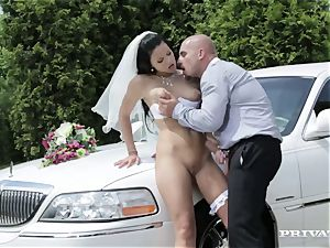 messy bride takes her chauffeur's man meat before her wedding