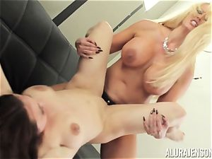 Alura Jenson cootchie filled with strap on dildo strenuous muscled chick Brandi May
