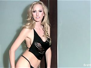 sumptuous Brett Rossi bare against the wall