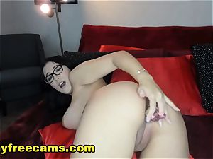 mind-blowing fabulous brunette drizzling Her cootchie