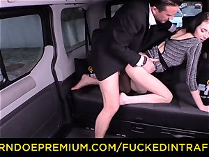 pummeled IN TRAFFIC - jaw-dropping smallish stunner humped by driver