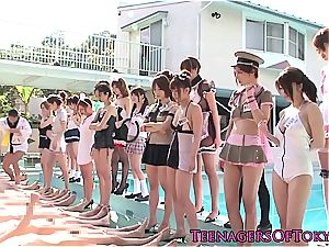 costume play teens at the pool soiree riding enormous schlong