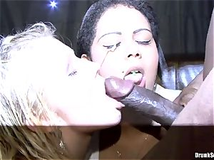 Bibi Fox and inebriated friends love ebony come on face