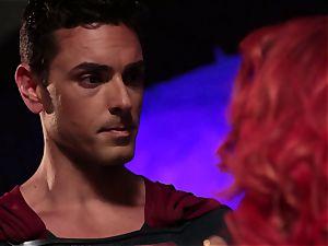 Britney Amber deep throats off a wild superhero