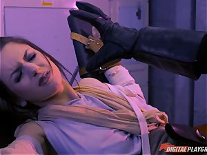 Stella Cox beaver beaten by a space agent