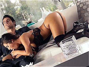 magnificent Eva Lovia is instructing her boyfriend some manners before the soiree