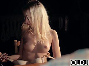 nubile toying undress poker with aged guy finishes having romp