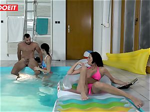 LETSDOEIT - son-in-law fucks StepMom And sis At The Pool