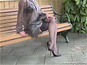 insatiable milf jerks in public in nylons garters heels