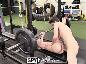 SPYFAM Stepsister drilled at the gym by big fuck-stick