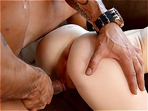Babyfaced Kira enjoys large pacifier in her taut rump