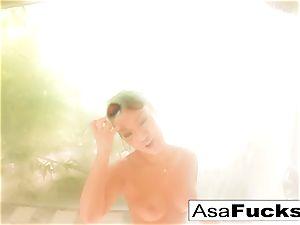 Asa Akira takes a torrid douche