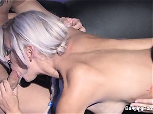 Dani has a red-hot black light threesome
