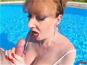 british Mature red hardcore inhaling prick in a pool